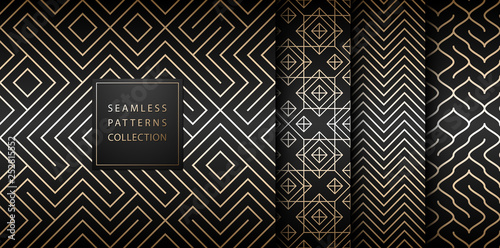 Montage in der Fensternische Künstlich Geometric seamless golden pattern background. Simple vector graphic black print. Repeating line abstract texture set. Minimalistic shapes. Stylish trellis square gold grid. Geometry web page fill.
