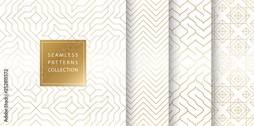 Fototapeten Künstlich Geometric seamless golden pattern background. Simple vector graphic white print. Repeating line abstract texture set. Minimalistic shapes. Stylish trellis square gold grid. Geometry web page fill.