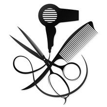 Scissors And Comb Design For A Beauty Salon