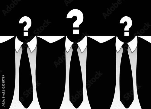 Candidatos, interrogación, trabajo, hombres, traje de chaqueta y corbata Canvas Print