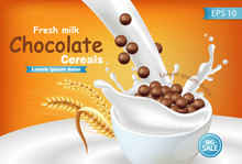 Organic Chocolate Cereals In Milk Splash Vector Realistic Mock Up. Product Placement Label Design. 3d Detailed Illustrations