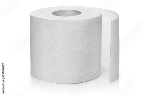 Fotografía  New roll of white toilet paper, isolated on white background