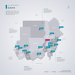Sudan vector map with infographic elements, pointer marks.