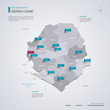 Sierra Leone vector map with infographic elements, pointer marks, regions, cities and capital Freetown.
