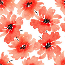 Seamless Watercolor Pattern With Red Flowers