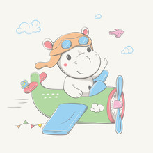 Lovely Cute Hippo In The Pilot's Hat And Glasses Flies By The Green Plane With Butterfly, Bird And Garland. Summer Series Of Children's Card