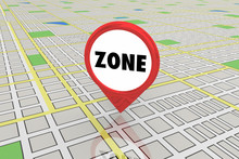 Zone District Area Commercial Residential Map Pin 3d Illustration
