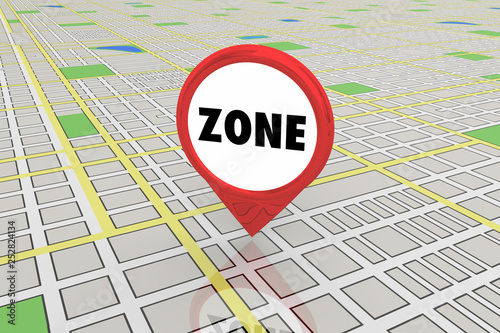 Fotografia  Zone District Area Commercial Residential Map Pin 3d Illustration