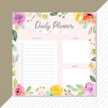 Daily Planner With Flower Wate...