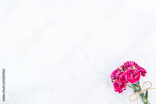 Fototapeta May mothers day photography - Beautiful blooming carnations bunch tied by bow isolated on a bright modern table, copy space, flat lay, top view, blank for text obraz na płótnie