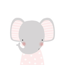 Cute Little Elephant In A Pink Dress With Floral Pattern. Kids Graphic. Vector Hand Drawn Illustration.
