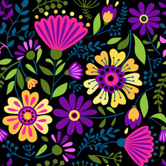 Vector texture with flowers and plants. Floral ornament. Original flowers seamless pattern. Colored vector design element for frame and border, textile, fabric or paper print. Vector background