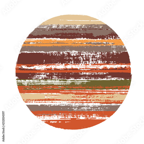 Fototapeta Abstract circle vector geometric shape with stripes texture of ink horizontal lines. Planet concept with old paint texture. Stamp round shape circle logo element with grunge stripes background. obraz na płótnie