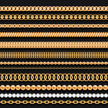 Set Of Gold Chains Beads And Ropes On Black. Seamless Brushes For Design.