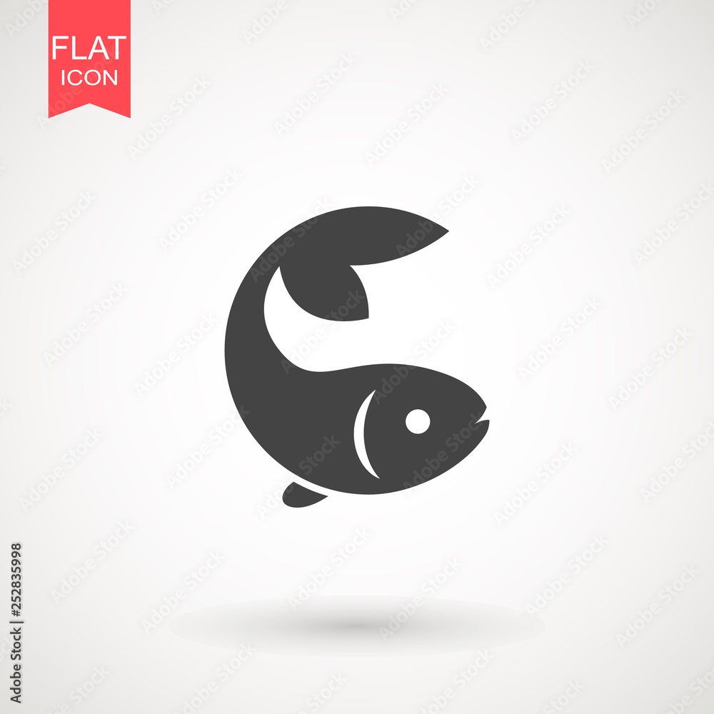 Fototapeta Fish icon. Fish logo template. Creative vector symbol of fishing club or online shop