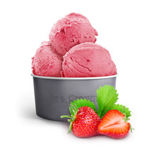 Strawberry Ice Cream In A Paper Cup With Strawberries