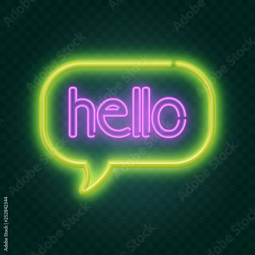 Poster Retro sign hello neon sign