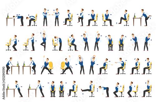 Obraz Office exercise set. Body workout for office - fototapety do salonu