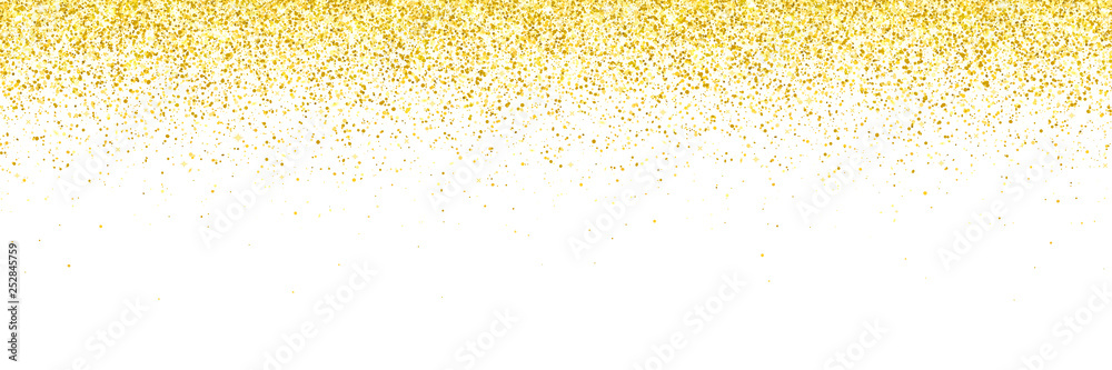 Fototapeta Wide gold glitter falling particles on white background. Vector