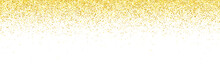 Wide Gold Glitter Falling Particles On White Background. Vector