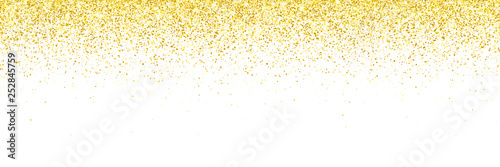 Photographie Wide gold glitter falling particles on white background. Vector