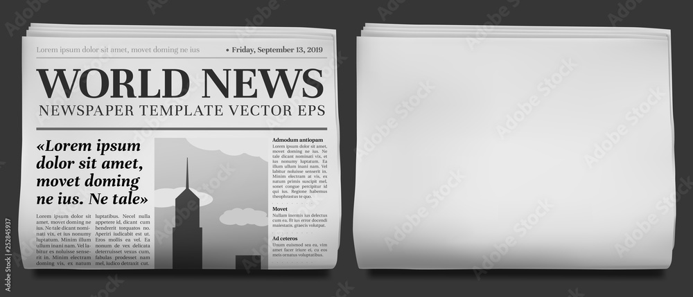 Fototapeta Newspaper headline mockup. Business news tabloid folded in half, financial newspapers title page and daily journal vector illustration