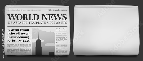 Obraz Newspaper headline mockup. Business news tabloid folded in half, financial newspapers title page and daily journal vector illustration - fototapety do salonu