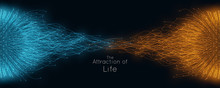 Colorful Attraction Of Life. Vector Connecting Particle Tails. Small Particles Strive To Each Other. Blurred Debrises Into Rays Or Lines Under High Speed Of Motion. Burst, Explosion Backdrop.