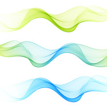 Set Of Abstract Waves Background.Blue, Green Wave.