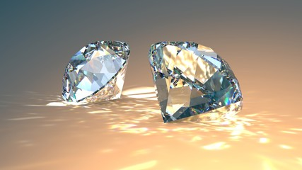 Two diamonds jewel isolated...
