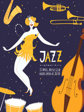 Vector Jazz Poster With Cute Dancing Girl
