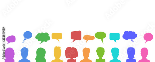 Vector illustration in flat style, businessmen discussion in social networks, news or chat dialogue speech bubbles Canvas Print