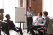 Middle-aged coach mentor gives flip chart presentation training sales team