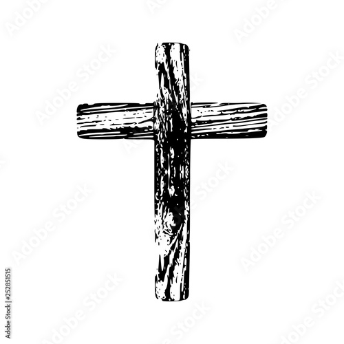 Foto Wooden cross on a white background