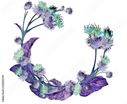 Hand drawn watercolor wreath of a colorful neon violet and green meadow thistle Wallpaper Mural
