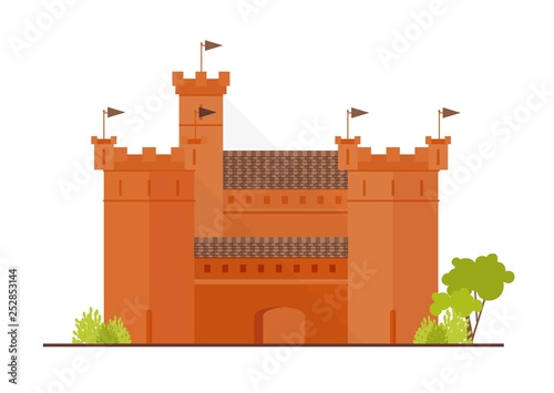 Fotografie, Obraz Medieval fortress, citadel or stronghold with bulwark, towers and bastions isolated on white background