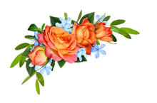 Orange Roses And Blue Small Fl...