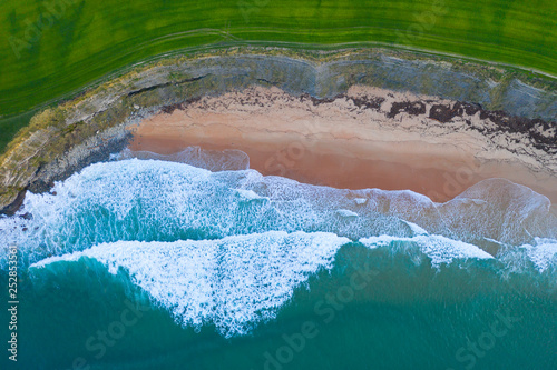 Waves, Sand, Ocean, Langre beach, Ribamontan al Mar, Cantabrian Sea, Cantabria, Spain, Europe