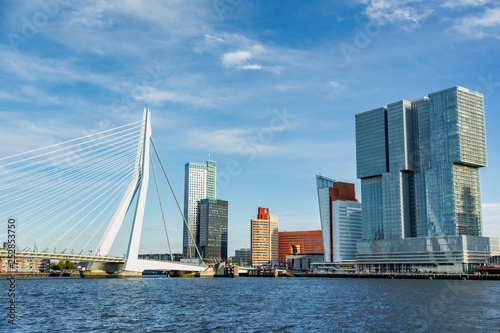 Spoed Fotobehang Rotterdam The morning view of Rotterdam Skyline with Erasmusbrug bridge, Netherlands