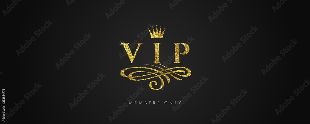 Fototapeta VIP - Glitter gold logo with crown and flourishes element  on black background. Vector illustration.