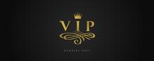 VIP - Glitter Gold Logo With C...