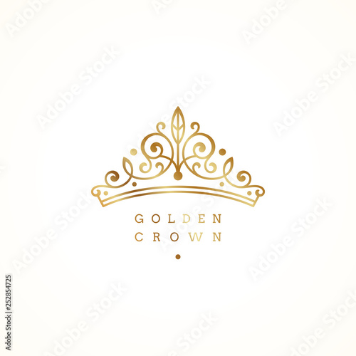 Fotografie, Obraz  Elegant golden crown logo on white background