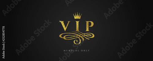 Foto  VIP - Glitter gold logo with crown and flourishes element  on black background