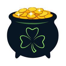 Pot Of Gold Vector Cartoon Ill...