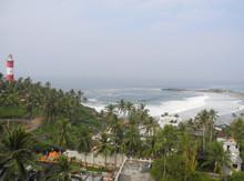 Sea, Palm Trees And Lighthouse, Kerala, Trivandrum, Kovalam