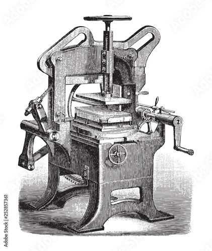 Printing press and embossing machine for braille / vintage illustration from Mey Fototapet