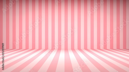 Obraz Striped candy pink studio backdrop with empty space for your content - fototapety do salonu