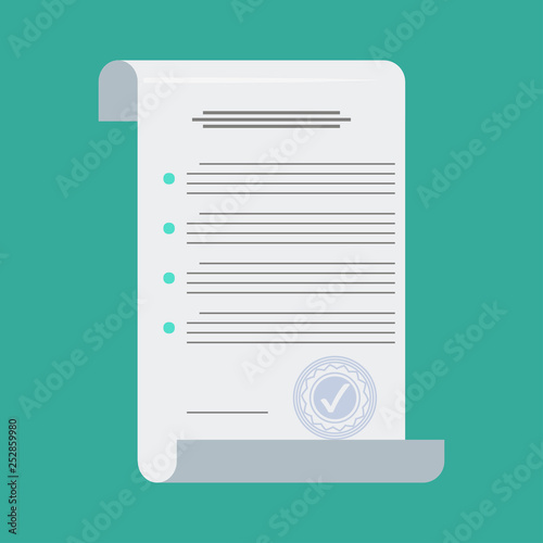 Fototapety, obrazy: Contract in flat style, business concept, vector