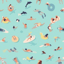 Summer Seamless Pattern With People Swimming, Diving, Surfing, Lying On Floating Air Mattress, Playing With Ball In Sea Or Ocean. Flat Cartoon Vector Illustration For Textile Print, Wrapping Paper.