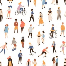 Seamless Pattern With People Walking On Street, Riding Bike Or Skateboard. Backdrop With Men, Women And Children Performing Outdoor Activities. Flat Cartoon Vector Illustration For Textile Print.